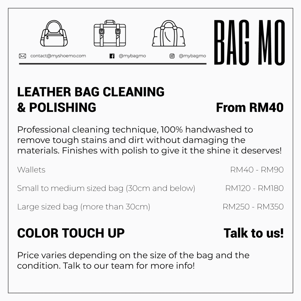 Bag cleaning, pricing, polishing, hand wash, bags, bag mo, shoe mo